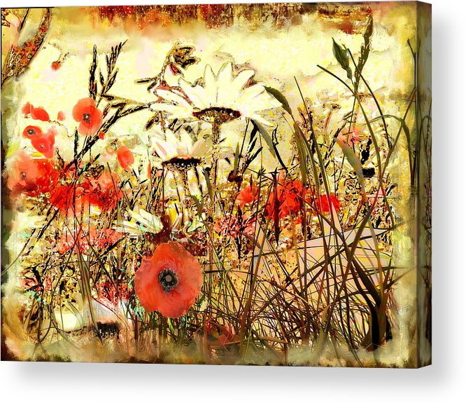 Papaver Acrylic Print featuring the painting Poppies In Waving Corn by Anne Weirich