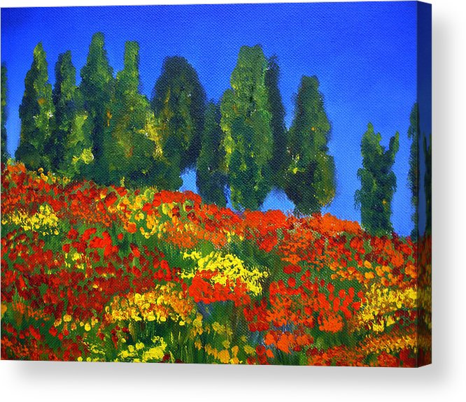 Poppies Landscape Acrylic Print featuring the painting Poppies Landscape by Mary Jo Zorad