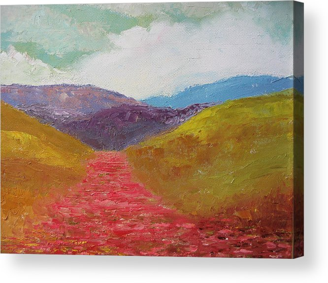 Landscape Acrylic Print featuring the painting Poppy Field by Belinda Consten