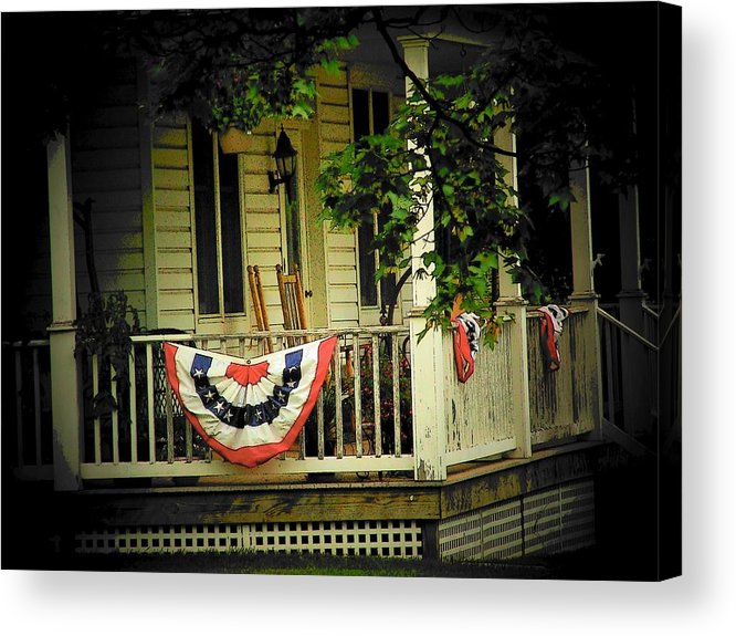 Porch Acrylic Print featuring the photograph Porch Flag by Michael L Kimble