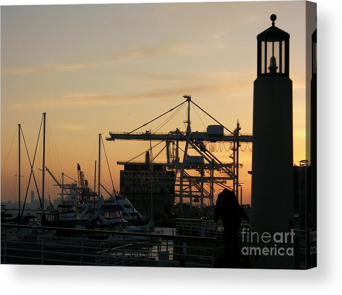 Oakland Acrylic Print featuring the photograph Port Of Oakland Sunset by Carol Groenen