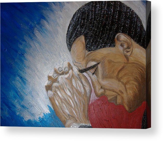 Portraits Acrylic Print featuring the painting Pray For Peace by Keenya Woods