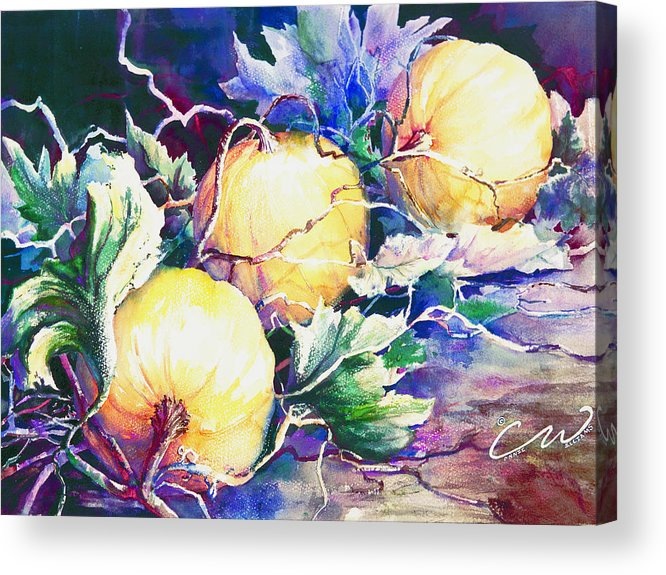 Pumpkins Acrylic Print featuring the painting Pumpkin Time by Connie Williams