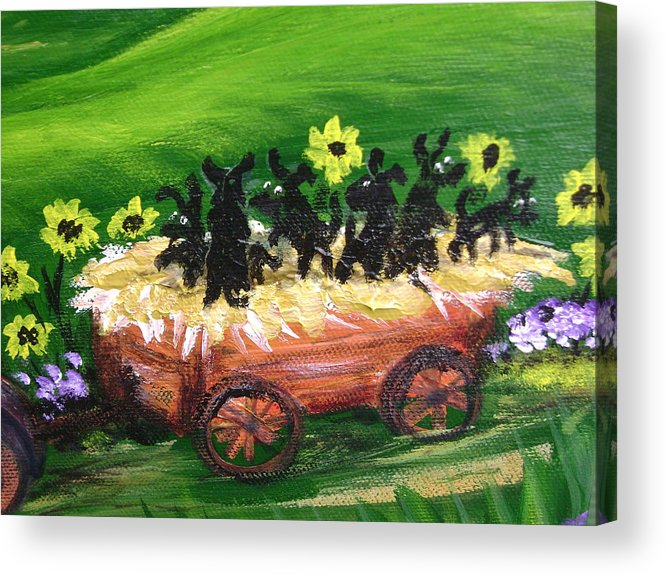 Pups Acrylic Print featuring the painting Pups First Hayride Upclose by Laura Johnson