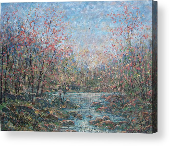 Landscape Acrylic Print featuring the painting Quiet Evening. by Leonard Holland
