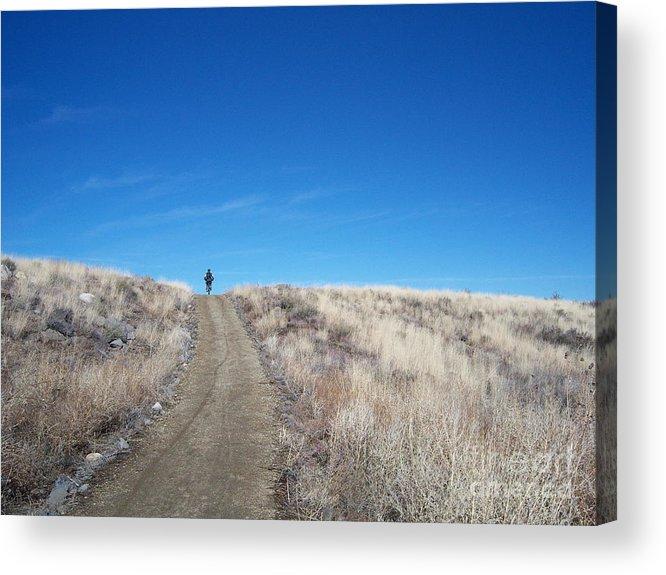 Racing Bike Acrylic Print featuring the photograph Racing Over The Horizon by Heather Kirk