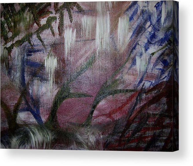 Abstract Landscape Free Style Dance Rain Acrylic Print featuring the painting Rain Dance by Lorraine Forbes