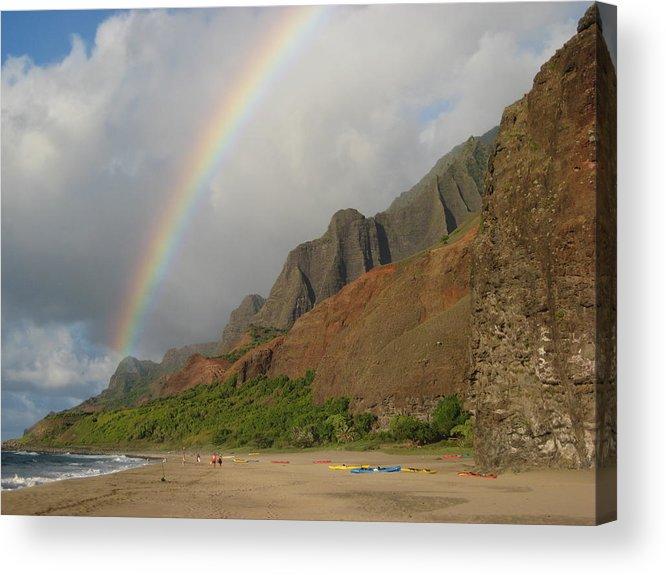 Rainbow Landscape Over Kalalau At Sunset Acrylic Print featuring the photograph Rainbow At Kalalau by Ileana Carreno