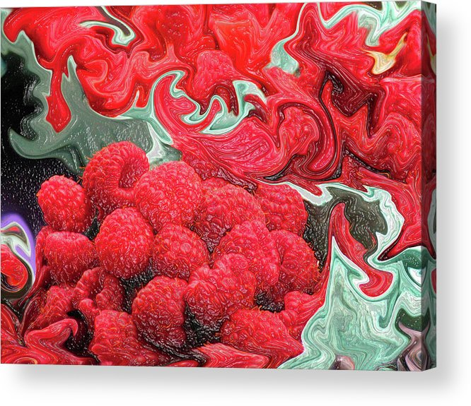 Art Photography Acrylic Print featuring the photograph Raspberries by Kathy Moll