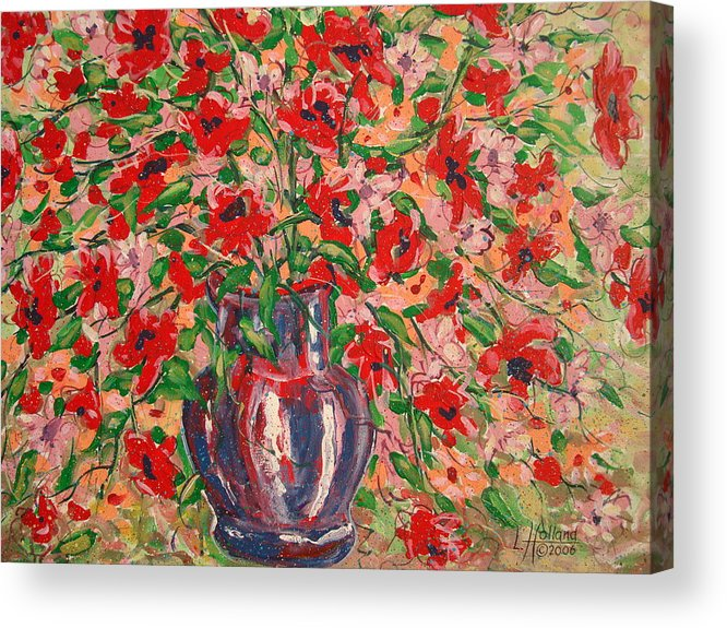 Flowers Acrylic Print featuring the painting Red And Pink Poppies. by Leonard Holland
