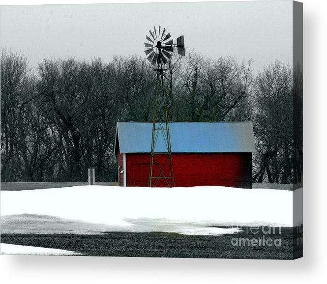 Red Barn Acrylic Print featuring the photograph Red Barn And Windmill by Julie Lueders