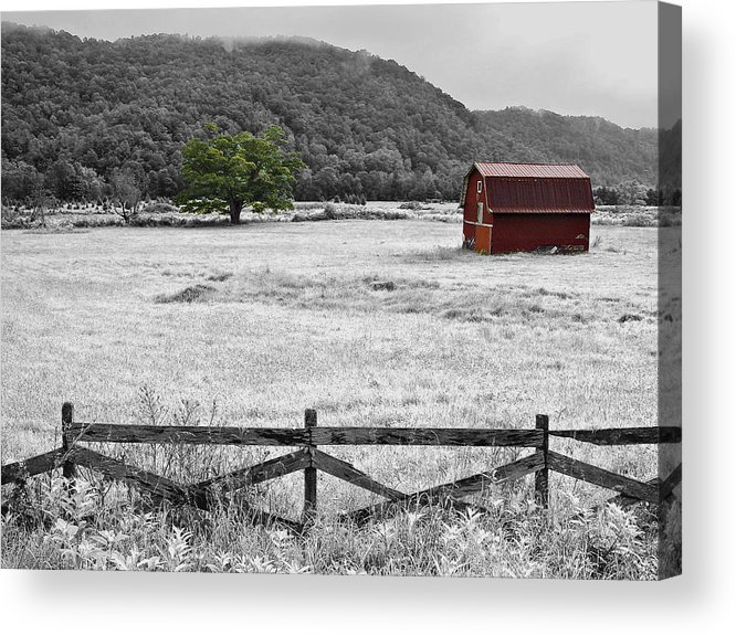 Digital Art Acrylic Print featuring the photograph Red Barn In Pasture by Michael Whitaker