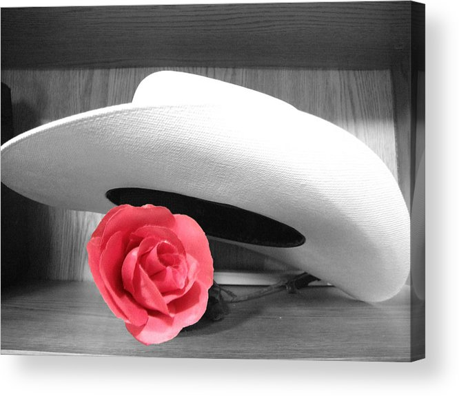 Hat Acrylic Print featuring the photograph Red Black And White by Chuck Shafer