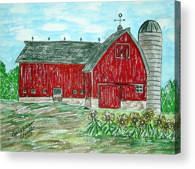 Red Acrylic Print featuring the painting Red Country Barn by Kathy Marrs Chandler