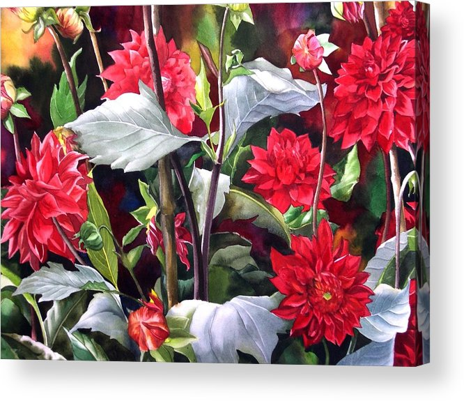 Flower Acrylic Print featuring the painting Red Dahlias by Alfred Ng