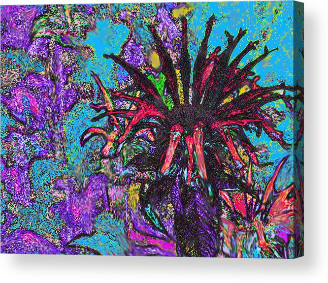 Abstract Acrylic Print featuring the digital art Red Flower In The Garden by Ian MacDonald