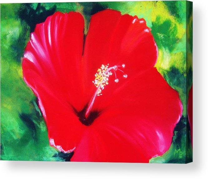 Bright Flower Acrylic Print featuring the painting Red Hibiscus by Melinda Etzold