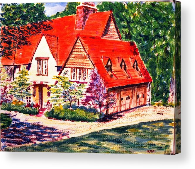 Watercolor Acrylic Print featuring the painting Red House In Clayton by Horacio Prada