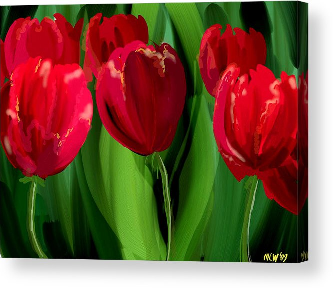Flower Acrylic Print featuring the digital art Red Tulips by Margaret Wingstedt