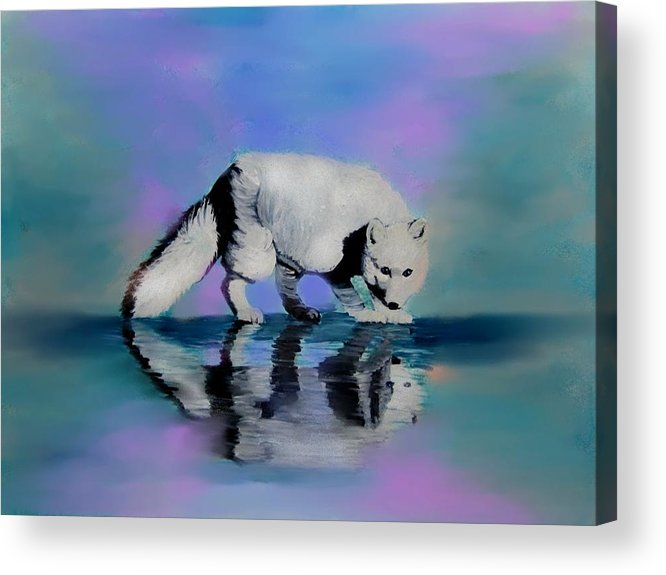 Foxes Acrylic Print featuring the painting Reflections by Liz Borkhuis