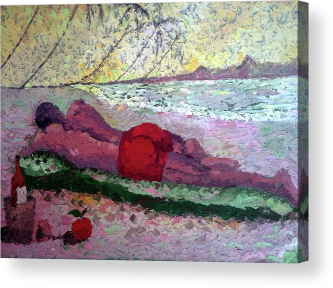 Relaxation Acrylic Print featuring the painting Relaxing At The Beach by Etim Ekpenyong