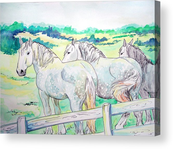 Horse Acrylic Print featuring the painting Resting Giants by Jenn Cunningham