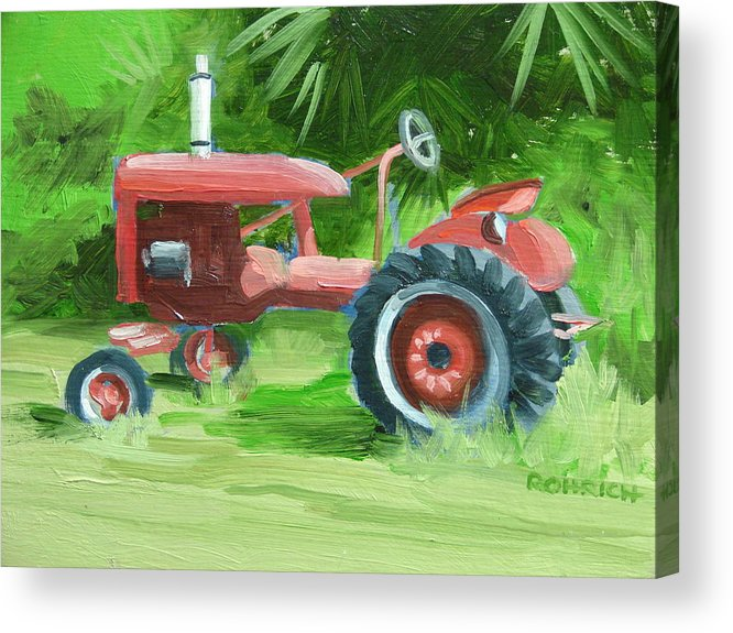 Tractor Farm Equipment Acrylic Print featuring the painting Retired Farmall by Robert Rohrich