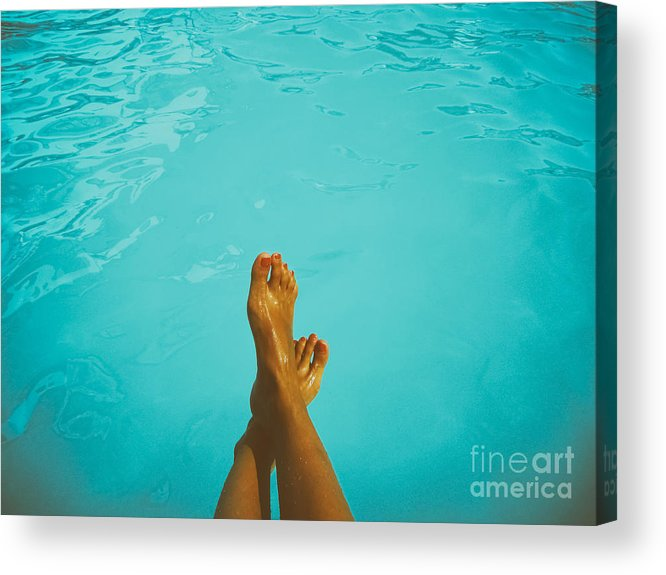 Barefoot Acrylic Print featuring the photograph Retro Young Girl Relaxing Her Feet At Swimming Pool by Radu Bercan