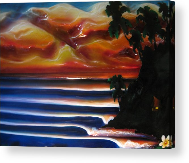 Surf Acrylic Print featuring the sculpture Rincon2 by Ronnie Jackson