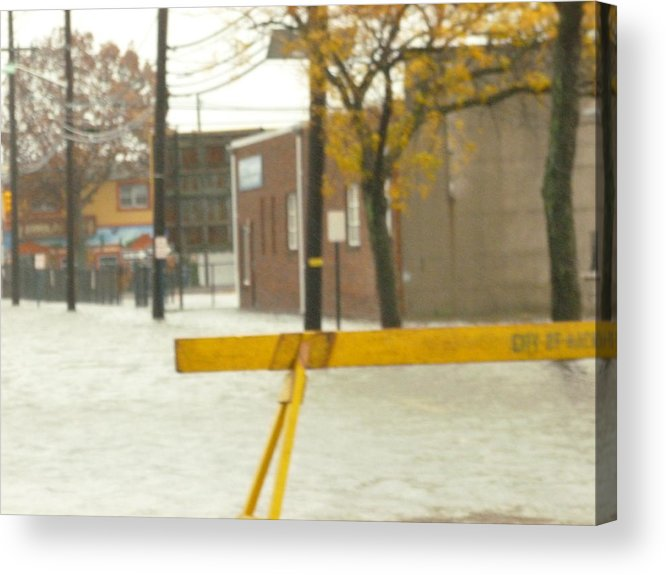 This Is A Photo Of The Hackensack River Flowing Down The Main Street By The River In Hackensack Nj. Acrylic Print featuring the photograph River Flowing Down The Street Hackensack Nj by William Rogers