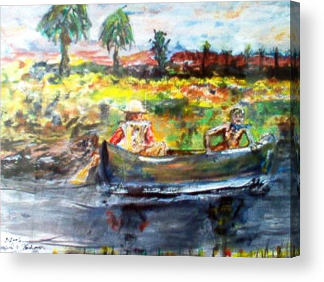 Lovers Canoing Florida River In Winter Acrylic Print featuring the painting River Romance by Alfred P Verhoeven