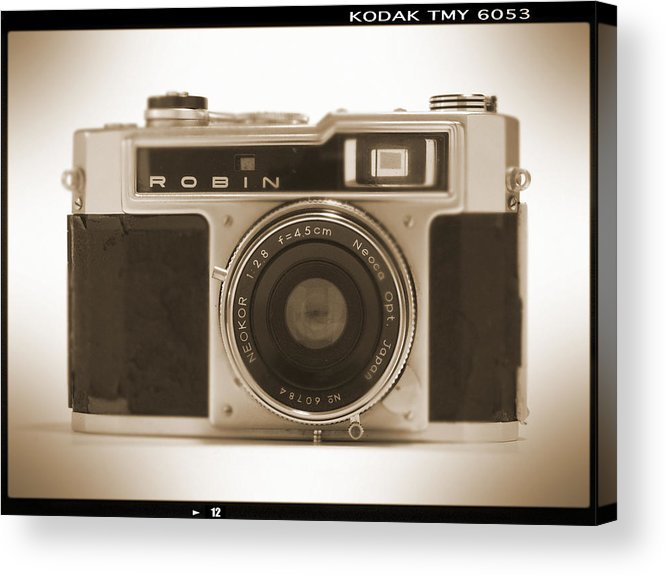 Vintage Robin Acrylic Print featuring the photograph Robin 35mm Rangefinder Camera by Mike McGlothlen