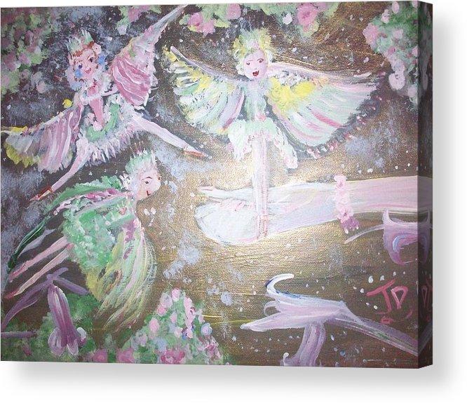 Rose Acrylic Print featuring the painting Rose Fairies by Judith Desrosiers