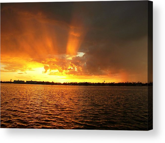 Sunset Background Acrylic Print featuring the photograph Rosey Fingered And Wet   Sunset by Charles Peck