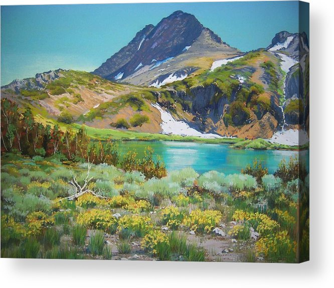 Sierra Nevada Acrylic Print featuring the pastel Round Top Lake Summer by Bonita Paulis