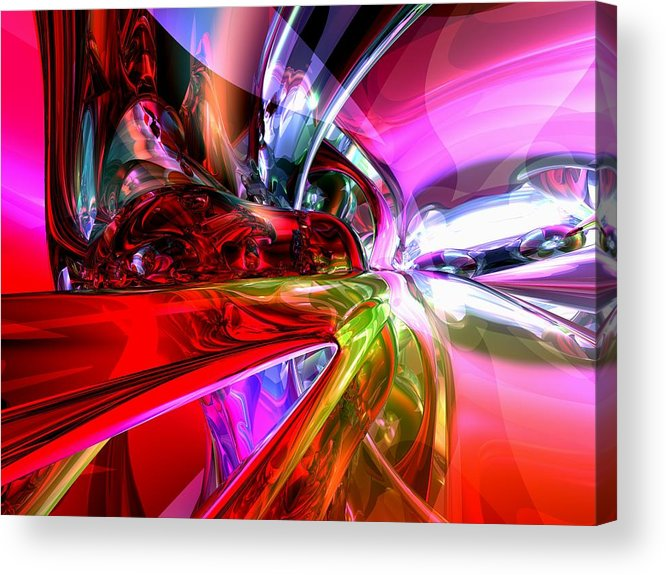 3d Acrylic Print featuring the digital art Runaway Color Abstract by Alexander Butler