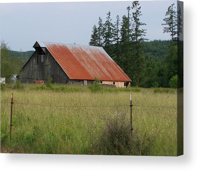 Rusty Acrylic Print featuring the photograph Rusty Roofed Barn  Washington State by Laurie Kidd