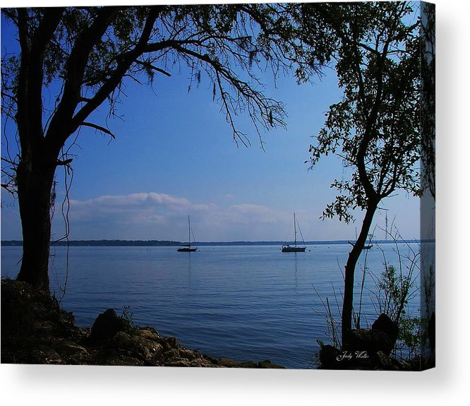 Trees Acrylic Print featuring the photograph Sail Boats On The Bay by Judy Waller