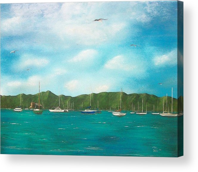 Seascapes Acrylic Print featuring the painting Sailboats In Harbor by Tony Rodriguez