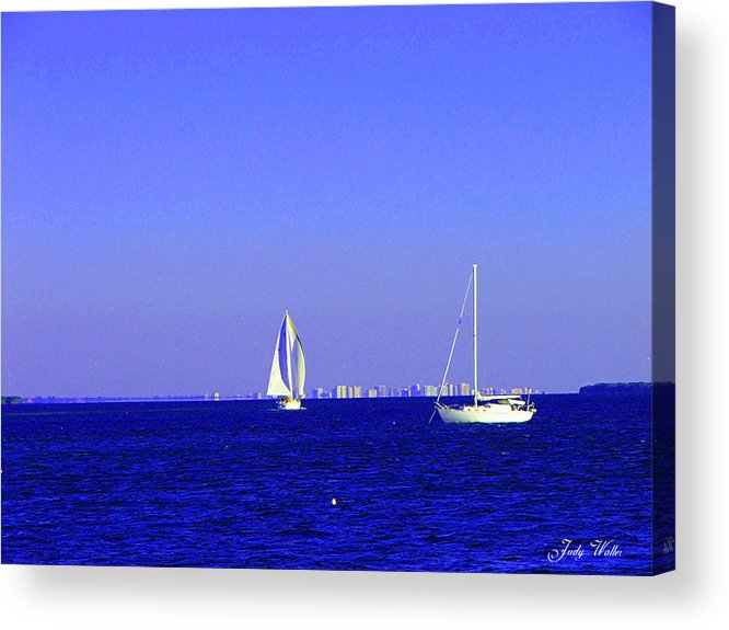 Sailboats Acrylic Print featuring the photograph Sailing by Judy Waller