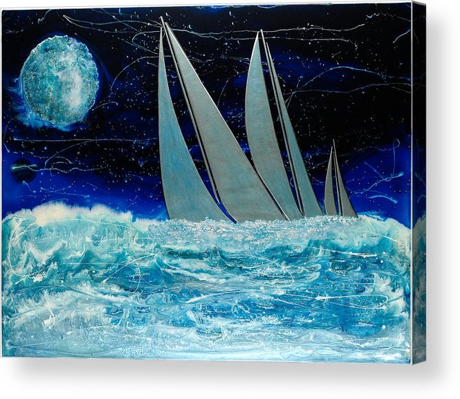 Surrealism Acrylic Print featuring the painting Sailors Night Race by Paul Tokarski