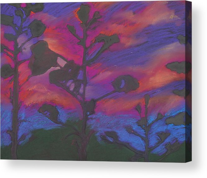 Contemporary Tree Landscape Acrylic Print featuring the mixed media San Diego Sunset by Leah Tomaino