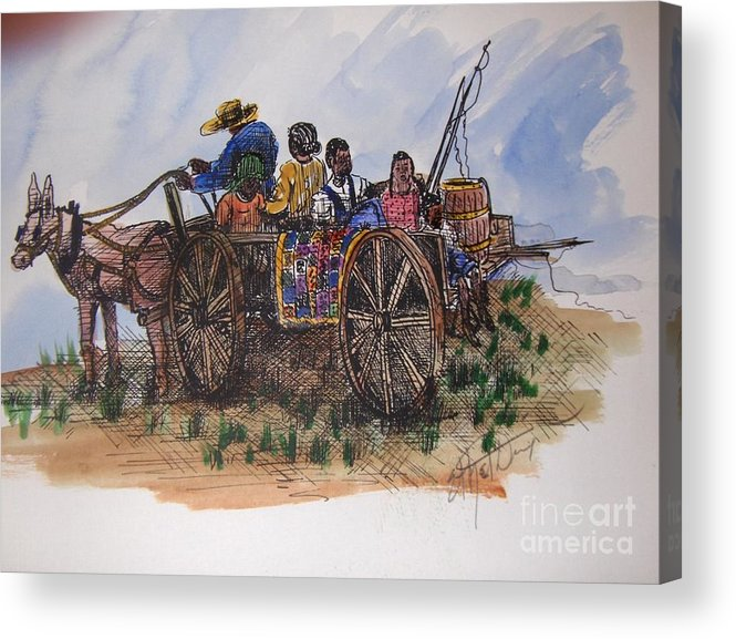 African American Art Acrylic Print featuring the painting Saturday Morning Ride by Ethel Dixon