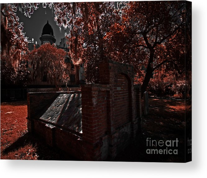 Savannah Acrylic Print featuring the photograph Savanna Georia Colonial Park Cemetery Color Infrared 500 by Rolf Bertram