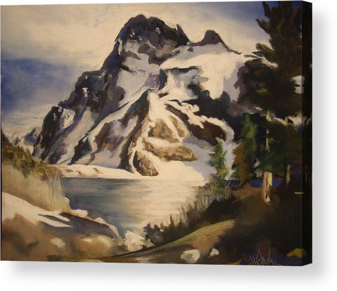 Mountain Acrylic Print featuring the painting Sawtooth Mountain Lake by Debbie Anderson