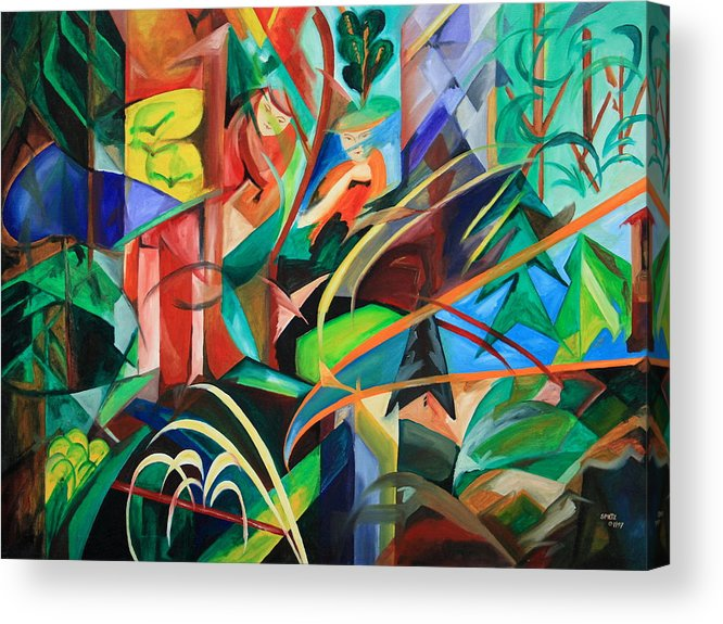 Forest Acrylic Print featuring the painting Schwarzwald - Black Forest by Harri Spietz