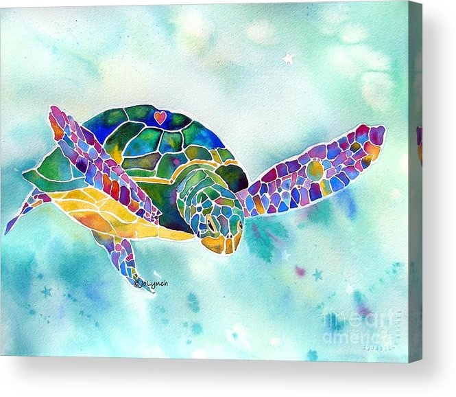 Sea Turtle Paintings Acrylic Print featuring the painting Sea Weed Sea Turtle by Jo Lynch