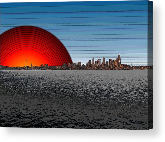 Seattle Acrylic Print featuring the digital art Seattle Dawning 2 by Tim Allen