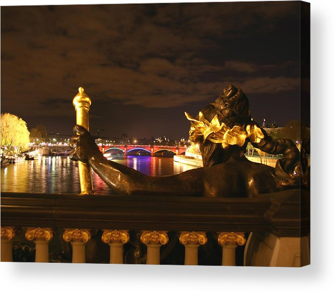 Pont Alexandre Iii Acrylic Print featuring the photograph Seine By Night by Hans Jankowski