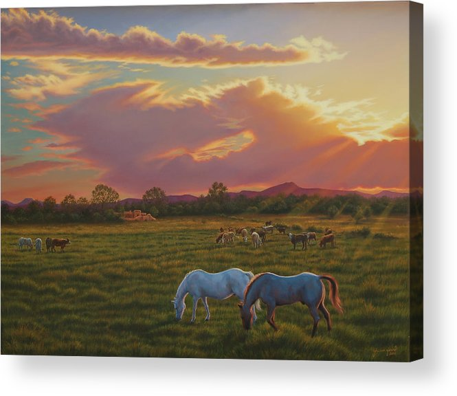 Southwest Acrylic Print featuring the painting September Sunset In Taos by Johanna Girard